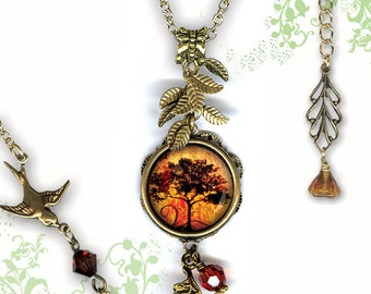 Petite Autumn Glow Necklace - GeoForms SHIMMERZ Petite Glass Art  - Falling Leaves