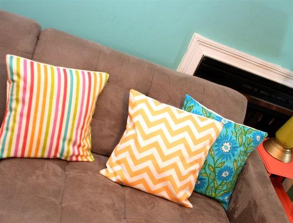 NEW SALE Creamsicle Chevron Pillow Cover