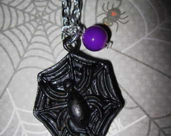 Spider Web Necklace Halloween Jewelry Spiderweb Charm Pendant Gothic Goth Halloween Costume Accessory Black Purple FREE SHIPPING USA/Canada