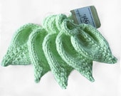 Knit Cotton Leaf Scrubbies Soft Mint Green Makeup Removers