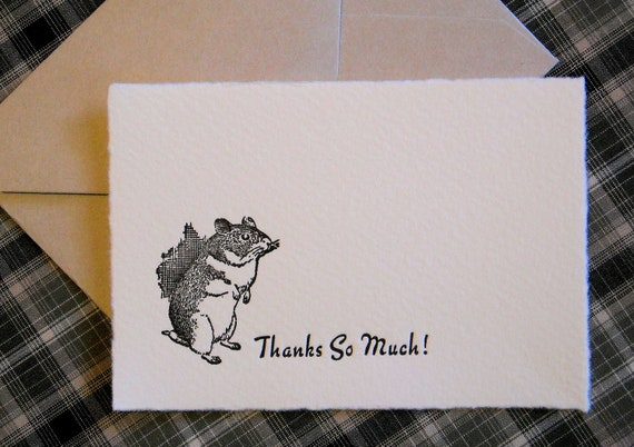Letterpress  Thank You Cards and Envelopes - Set of Ten Mini Cards - Little Mouse