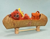 Hucklebeary  Mohair Artist Teddy Bear  Jointed  canoe  backpack