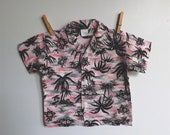Vintage 1950s seersucker hawaiian shirt, pink and black palm trees