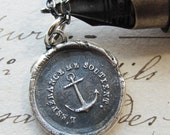 Anchor Necklace - Hope Sustains Me - Wax Seal Necklace - Inspirational Necklace - Nautical Jewelry - Anchor Jewelry - Handcrafted FR525