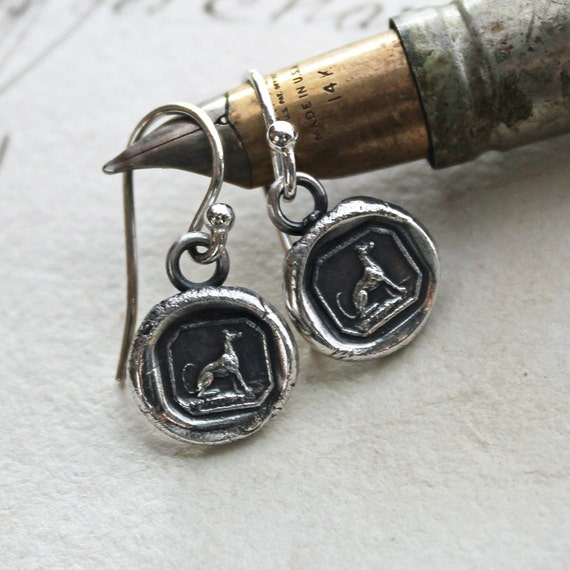 Tiny Greyhound Wax Seal Earrings in eco friendly fine silver, tiny dog wax seal jewelry - DE825