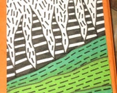 Original Drawing ACEO Black and White and Green Summer Grass Design