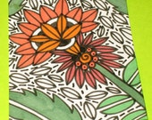 Original Drawing ACEO Black and White and  Orange Flowers and  Green Leaves Design