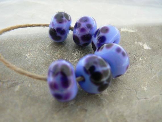 Purple Periwinkle  Beads... Handmade Lampwork Glass Beads