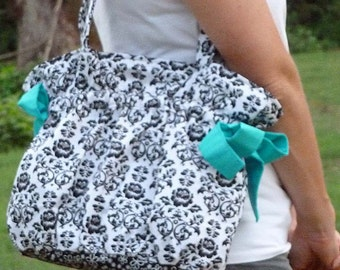 Drawstring Tote Bag - easy pdf purse sewing pattern - instant download