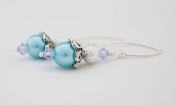 Pastel Blue Glass pearlised Earrings With Sparkling Pale Blue Swarovski Crystal And Silver Bead