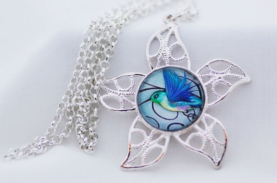 Blue Bird Necklace, Shiny Silver, Photography, Digital Art Picture Jewelry