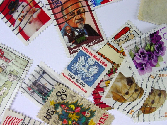 Over 100 Vintage  Postage Stamps from 1959 to the 1990s -Set A
