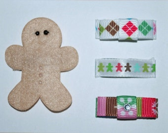 Christmas Holiday Gingerbread Man Snap Hair Clip Set - Buy 3 Items Get 1 FREE, Toddler Hair Clips, Baby Hair Clips, baby shower gift