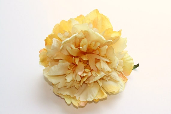 Silk Flowers - Silk Peony in Light Yellow - 5.5 inches - Artificial Flowers