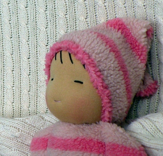 waldorf doll-toddler doll-sherpa stripes