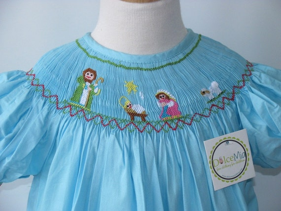 Smocked Nativity scene dress gown Christmas for girls szs 4T