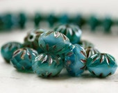 Turquoise Picasso Czech Glass Cruller Bead 9x6mm :  10 pc