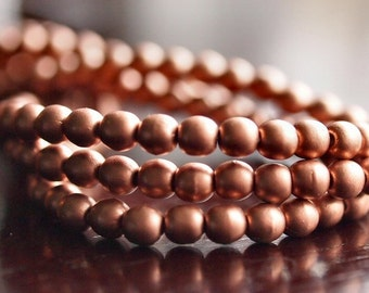 4mm Metallic Copper Matte Czech Glass Round Druk Bead : 50 pc Strand Copper 4mm Round