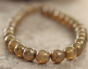 Champagne Gold Picasso 4mm Czech Glass Bead Round Druk - 50 pc Strand