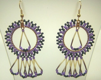 Hand Woven Purple & Black Starburst Earrings with Porcupine Quills