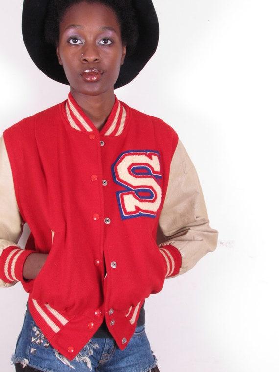 vintage red wool beige leather tom boy varsity jacket