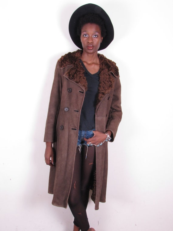 reserved for anna vintage 70s full length shearling curly lambskin sheepskin fur coat womans jacket