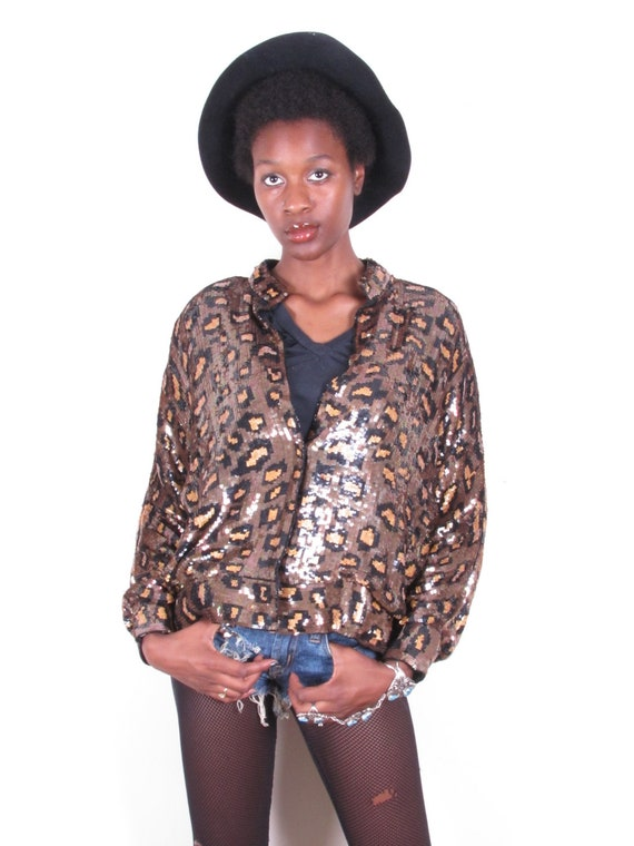 80s cheetah leopard animal print gold black sequin bomber style jacket