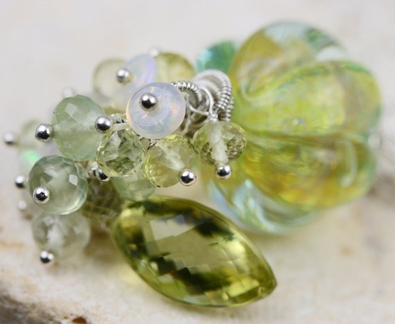 SALE oOo - Glass Lampwork Lemon Quartz Prehnite Opal Cluster Sterling Silver Wire Wrapped Necklace - The Citrus Squeeze