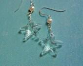 Beach wedding earrings. Crystal Starfish and Pearl. Earrings.