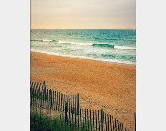 Sand Dunes Photo, Duck North Carolina Beach Photograph, Peaceful Beach Scene, Aqua Brown Landscape, Outer Banks Photo, Sand Fence Photo