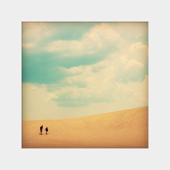 Dune Hike: square fine art photograph print of sand dune and sky with clouds, two people walking