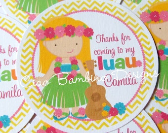 Luau Birthday Party Favor Tags or Stickers / Choose Hair Color / Set of 12
