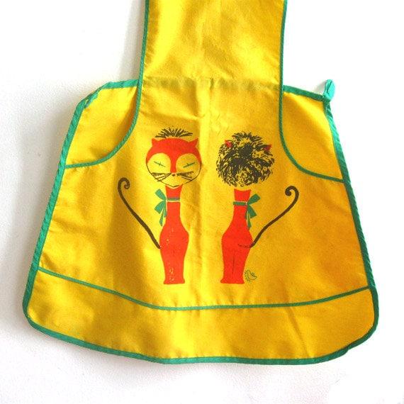Vintage Mid Century Bib Apron - Yellow Cats Rare Mod Kitchen MCM