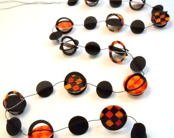 Halloween Party Decor Orange and Black Paper Mini Garland OOAK