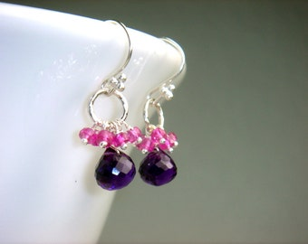 Amethyst and Pink Sapphire Earrings