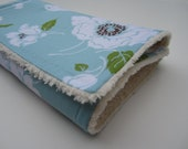 40% OFF SHOP SALE code take40, Baby Girl Chenille Burp Cloth / Blue Floral