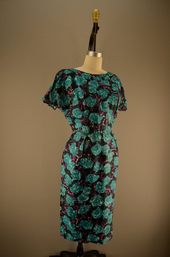 reserved 1950s floral day dress size large Vintage 50s teal silk wiggle dress Mad Men office Water Color