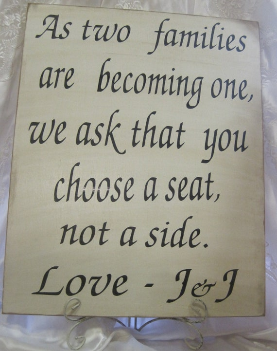 Rustic Wedding Sign Xlarge 16 x 20 Directional Two Families become One Choose a Seat Not a Side Ceremony Reception
