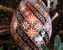 Made To Order: Red Flowers Spiral Pysanka Pysanky  EBSQ Juried Plus