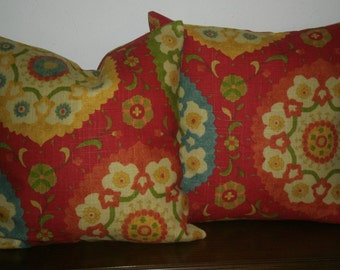 FREE DOMESTIC SHIPPING Decorative Set of Two Pillow Covers 18 inch Richloom Suzani Print in Red/Teal/Green/Cream,Orange Invisible Zipper