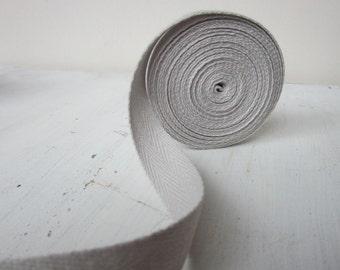 Light Gray Cotton Twill Tape, 3/4 inch wide, Medium Herringbone Twill Tape