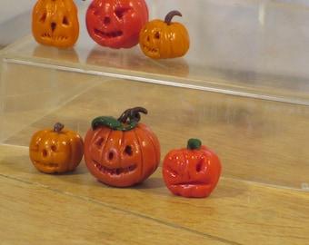 Set of 3 miniature  Halloween Jack'o'lanterns