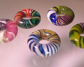 Reserved Large Hole Donut Beads made fromTwisty Cane Scraps