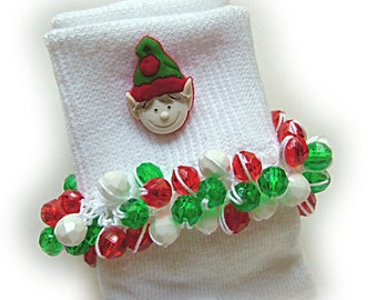 Kathy's Beaded Socks - Christmas Elf socks, button socks, holiday socks, girls socks, faceted socks, Christmas socks
