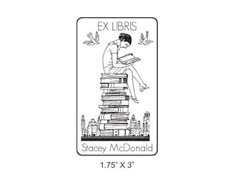 Girl Reading on a Stack of  Books Ex Libris Bookplate Rubber Stamp L04