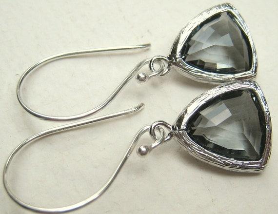 Trillion Grey Glass Gem Earrings - Smoke - Louisiana