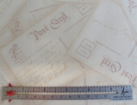 Reserved for catherine - 4 yards - 38.00 - Best Wishes Fabric - Red Post Cards - 1 Yard for 9.50 Dollars