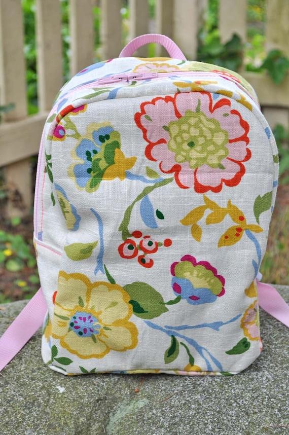 Toddler Backpack - floral linen