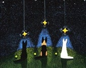 German Shepherd Dog outsider Folk art PRINT of Todd Young painting Wishing on a Star