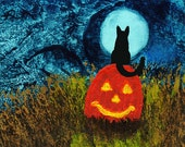 Black Cat Halloween ACEO Folk Art PRINT of Todd Young painting